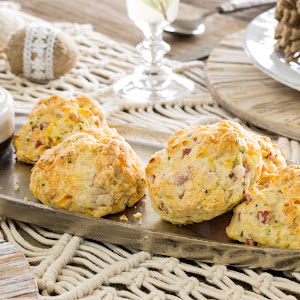 Ham and Smoked Gouda Biscuits with Maple Butter