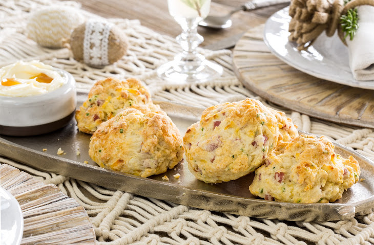 Ham and Smoked Gouda Biscuits with Maple Butter Recipe