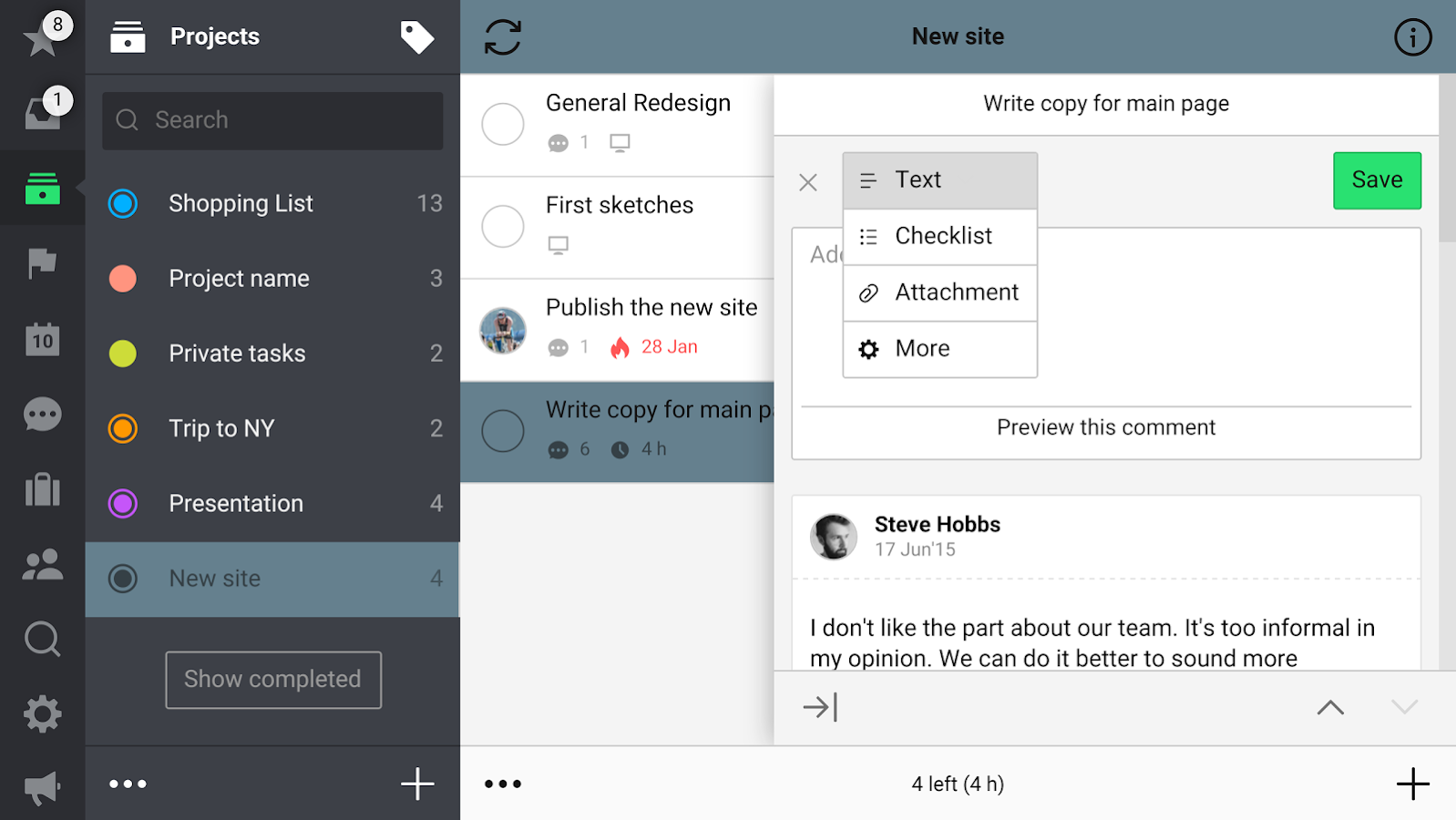 Nozbe: to-do, tasks & projects- screenshot