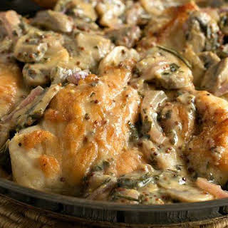 Chicken Breasts with Mushroom & Onion Dijon Sauce.