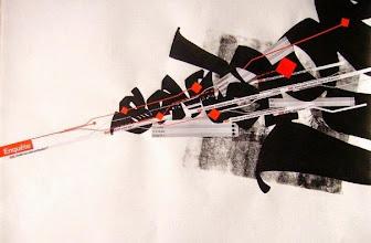 Photo: graffiti avec collages de sondage et marker Posca sur fond d'impressions au rouleau – lors d'un stage avec avec Laurent Pflughaupt