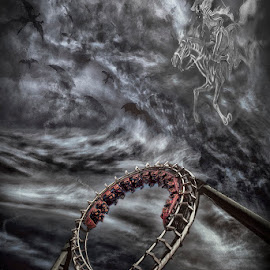 hell of a ride by Egon Zitter - Digital Art People ( clouds, themepark, rollercoaster, dramatic, devil, evil, hellraiser )