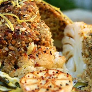 Stuffed Cauliflower Baked with Crispy Zucchini Spirals in a Lemon & Mustard Dressing.