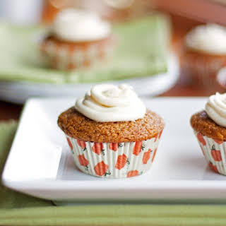 Healthy Pumpkin Muffins With Cream Cheese Frosting.