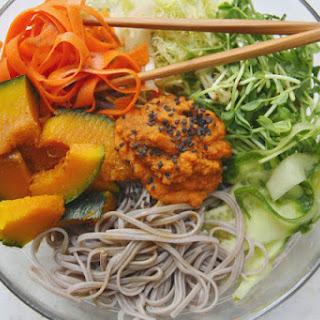 Gluten Free Buckwheat Sweet potato noodles with Kabocha Squash & carrot ginger miso dressing