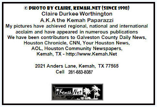 Photo: © Photo's by Claire, Kemah.Net (SINCE 1998) Claire Durkee Worthington A.K.A. the Kemah Paparazzi. My pictures have achieved regional, national and international acclaim and have appeared in numerous publications. We have been contributors to Galveston County Daily News, Houston Chronicle, CNN, Your Houston News, AOL, Houston Com munity Newspapers, Kemah, TX (FB) http://Kemah.Net http://Facebook.com/KemahTexas Cell 281-683-8087