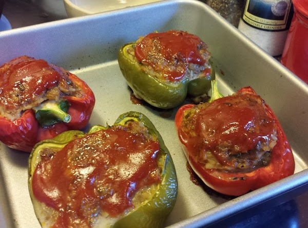Peppers are done when meatloaf reaches internal temperature of 160°.