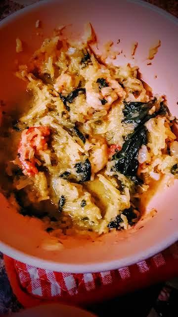 """Healthy garlic, shrimp, spinach & """"pasta."""""""