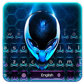 3D Blue Alien UFO Keyboard