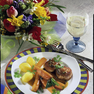 Green Pepper Pork Medallions with Spring Vegetables
