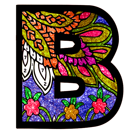 Alphabets Glitter Color by Number - Coloring Book Icon