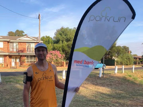 Luke Olding at Parkrun event 88, which was his last as the Narrabri director.