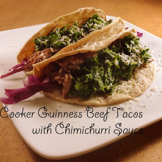 Slow Cooker Guinness Beef Tacos with Chimichurri