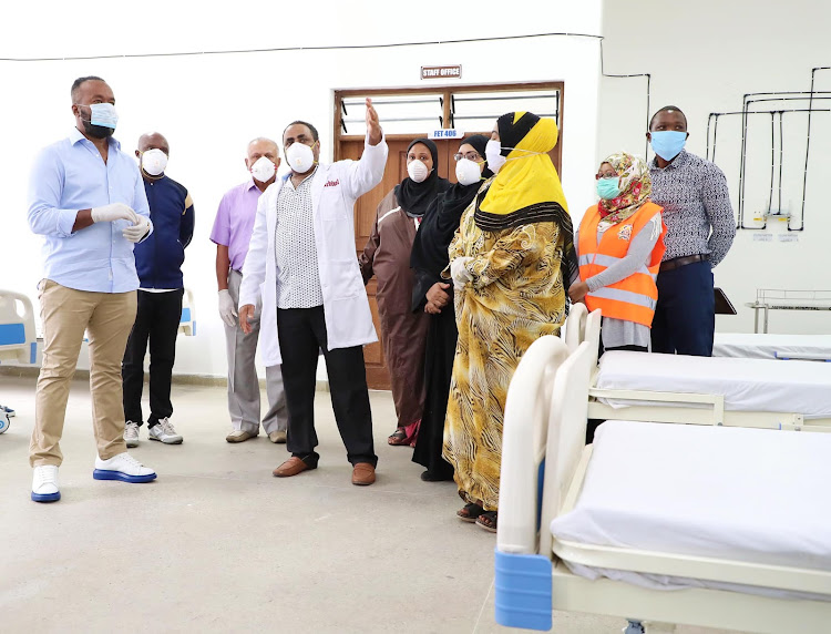 Mombasa Governor Hassan Joho during the opening of the 300-bed Covid-19 isolation centre at Technical University of Mombasa on April 23