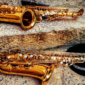Two Sax and Hat  by Igor Modric - Artistic Objects Musical Instruments