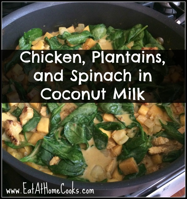 Chicken, Plantains, and Spinach in Coconut Milk