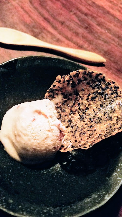 Fukami 19 course dinner of small plates and sushi: Azuki Ice Cream, red bean ice cream with sesame twill
