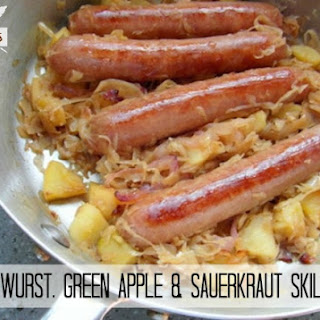 Bratwurst, Green Apple & Sauerkraut Skillet