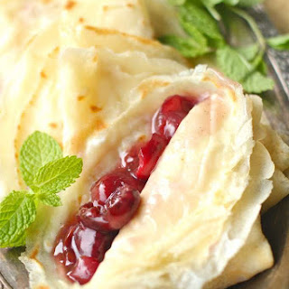 French Crepes with a Mascarpone and Cherry Compote