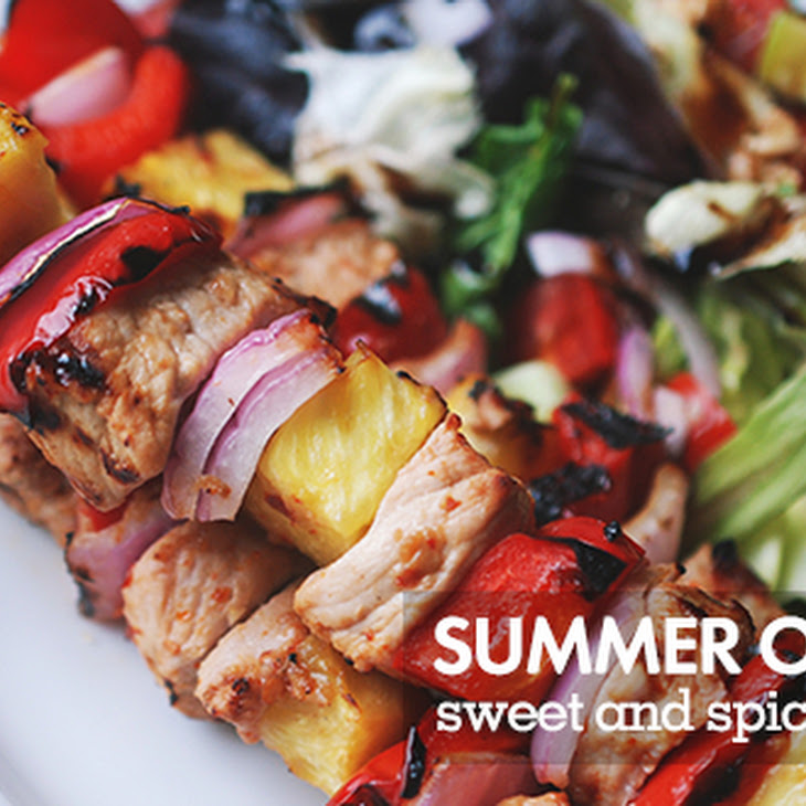 Spicy Asian Pork & Pineapple Kabobs