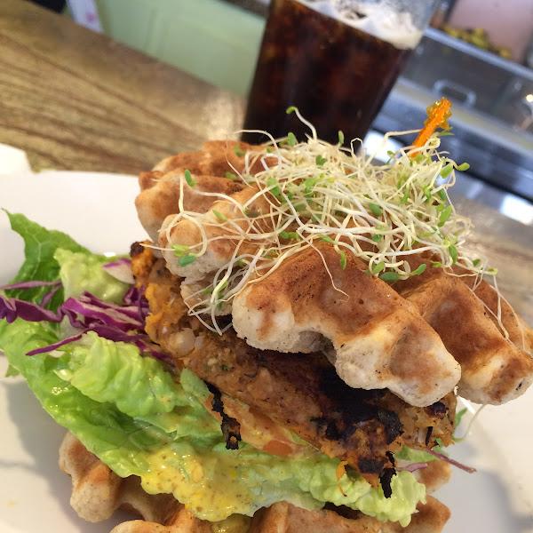 Sweet potato burger - cold brew on nitro in background.