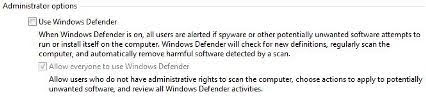 Uncheck Use Windows Defender