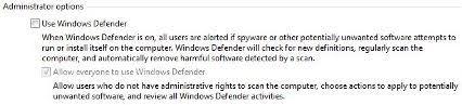 Uncheck Use Windows Defender
