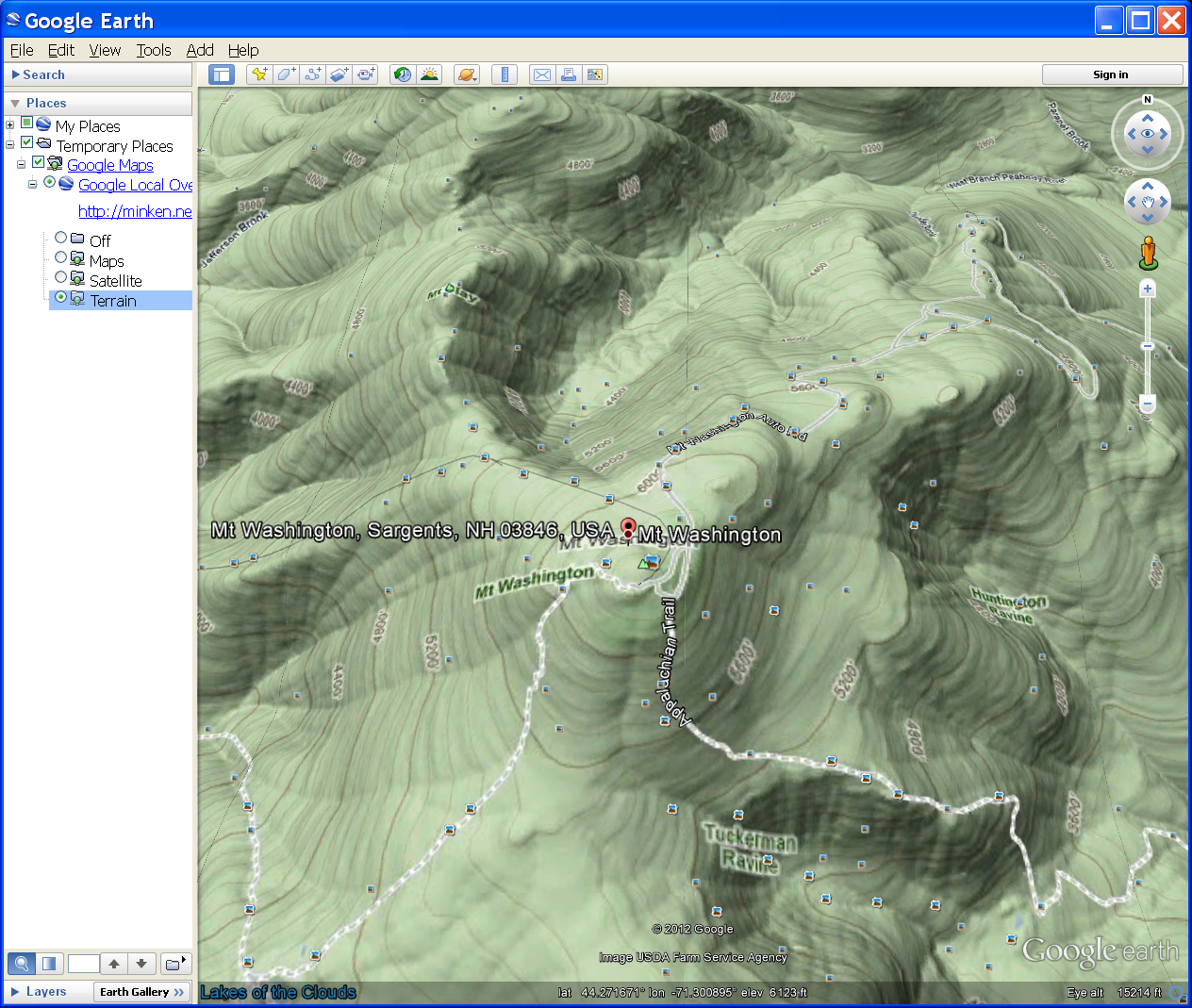 Photo: Topographic layer in Google Earth