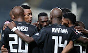 Vincent Pule of Orlando Pirates celebrates with teammates during the Absa Premiership 2018/19 match between Orlando Pirates and Chippa United at the Orlando Stadium, Soweto on 08 January 2019 ©