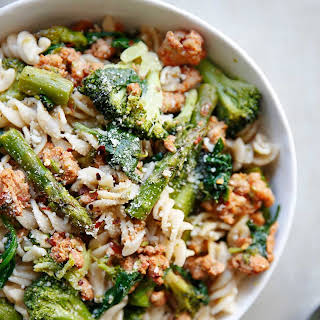 Sausage and Spring Vegetable Pasta.