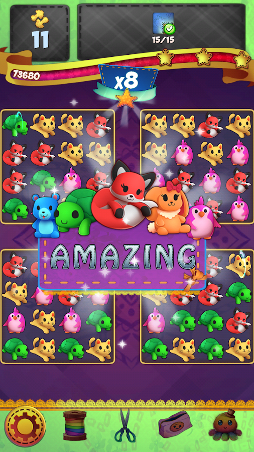 Fluffy PJ Trolls Friends: Match 3 Puzzle Game- screenshot