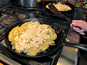 Photo: frying the battered mussels on a hot pan
