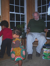 Photo: Dad trying to scare the camera away from precious grands