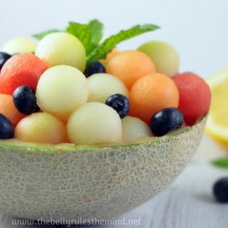 Melon Ball Salad with Lemon Mint Dressing (Raw + Vegan).