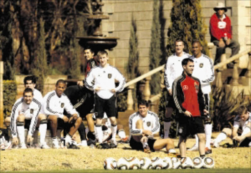 Germany's players prepare for a training session at the Velmore hotel in Pretoria June 19, 2010.  REUTERS/Joern Pollex/Pool (SOUTH AFRICA - Tags: SPORT SOCCER WORLD CUP)