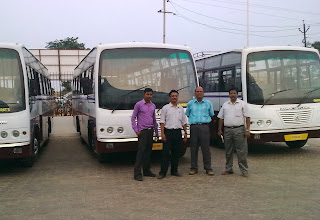 Photo: Mr BC Nayak, DGM(Tech.), OSRTC, along with Ali Asgar, SS Das & BML Sales Executive at the time of delivery of 4 buses from Bharat Motors, Bhubaneswar
