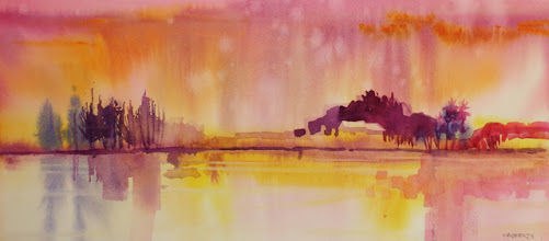 """Photo: """"Pink Reflections"""", watercolor by Nancy Roberts, copyright 2015"""