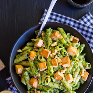 Kale and Leek Pesto Pasta with Tofu.