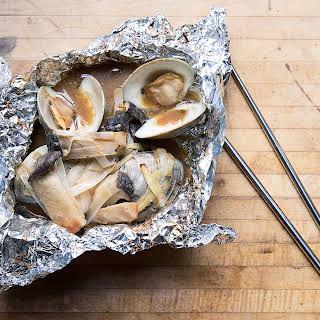 Clam, Leek, and King Oyster Mushroom Foil Yaki.