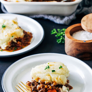 Vegan Lentil Shepherd's Pie with Parsnip Mashed Potatoes.