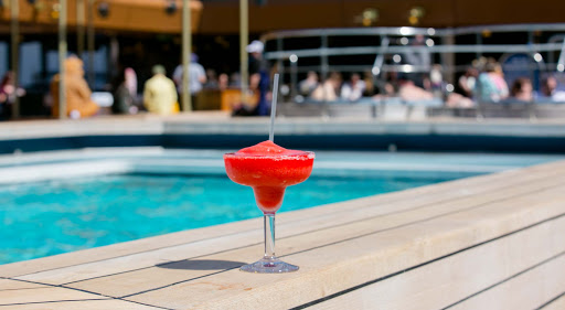 A strawberry daiquiri served on the pool deck of Holland America's ms Westerdam.