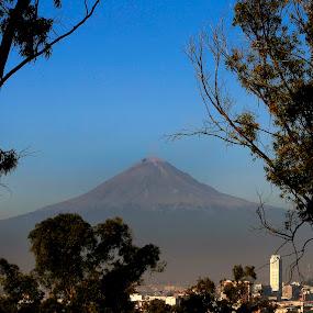 Volcano and city by Cristobal Garciaferro Rubio - Travel Locations Landmarks ( volcano, mexico, puebla, popocatepetl, trees, leaves )
