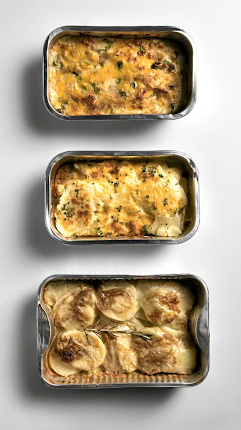 From top to bottom: Potato bakes from Pick n Pay, SPAR and Woolworths.