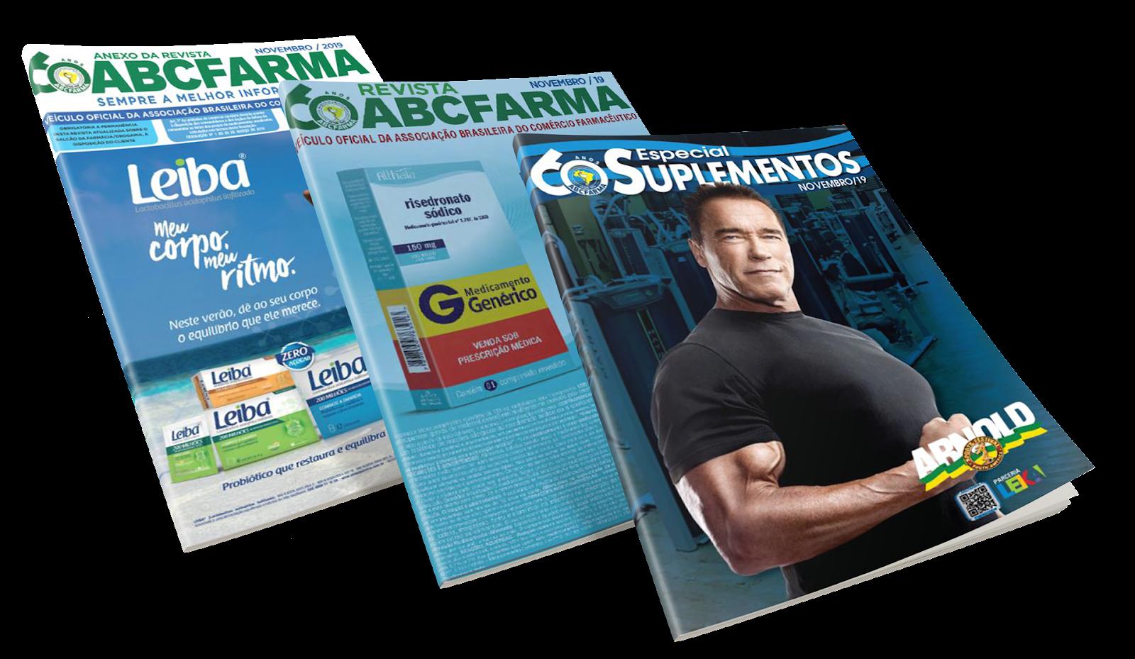 A imagem mostra 3 revistas da ABC Farma: os 2 volumes de novembro de 2019 e uma edição especial sobre suplementos.