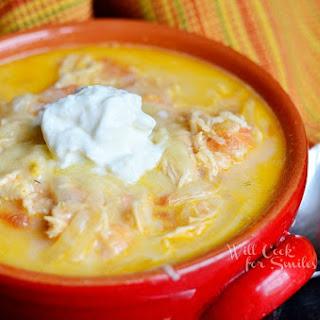 Homemade Creamy Chicken Enchilada Soup.