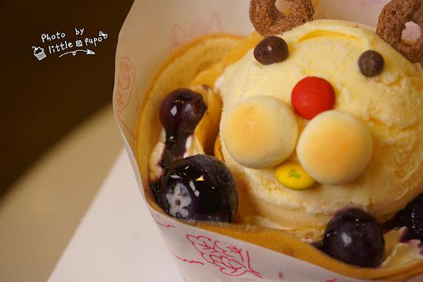 [嘉義美食] fun tower日式(軟)可麗餅專賣店:推出暑期限定超萌動物版:藍莓乳酪,酸酸甜甜,沁心涼+奶香綿密感。
