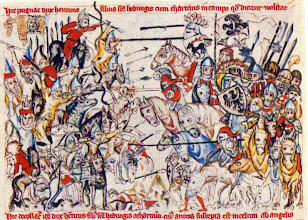 Photo: Battle of Legnica 1241. From Legend of Saint Hedwig. Medieval illuminated manuscript, collection of the J. Paul Getty Museum, 1353