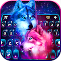 Neon Wolf Galaxy Keyboard Theme icon