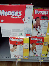Photo: OK...now here are the Huggies Snug & Dry diapers. Hmmm...what size to get? 1, 2 or 3? I went with size 3...our family has big babies. ha! It will be a couple of weeks before I see my new nephew, so I don't want to get diapers that will be too small for him. ha!