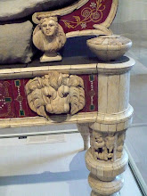 Photo: Detail of couch and footstool with bone carvings and glass inlays.  http://www.metmuseum.org/Collections/search-the-collections/130009712